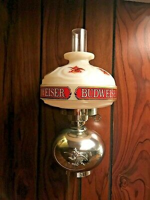 Budweiser Beer Sign Vintage Wall Sconce Lamp Light Hurricane Oil Style~RARE LOGO
