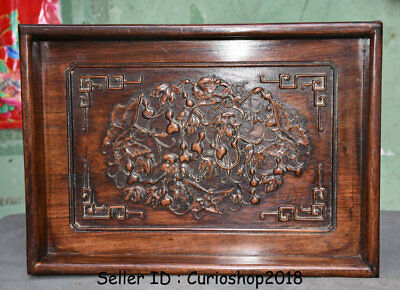 "14"" Rare Antique Old China Huanghuali Yellow Pear Wood Dynasty Gourds Plate Tray"