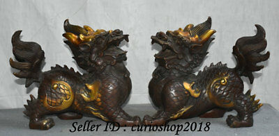 "8"" Old Chinese Bronze Gilt Dragon Kylin Qilin Beast Unicorn Wealth Statue Pair"