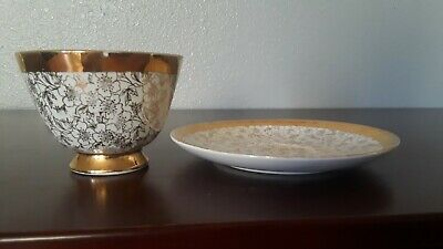 Collectible Chinese 22K pure gold silk bowl and plate