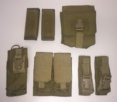 Eagle Industries Coyote Pouch Lot, SAW, Rifle, MBITR, Flash Bang, Shoulder Pads