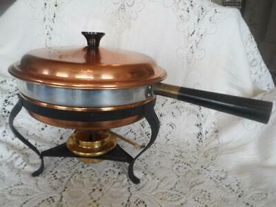 Vintage Douro 5 Pc.Copper & Wrought Iron Chafing Dish Warming Stand Set w/Burner