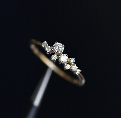 14k Gold 7 Tiny Diamond Pieces Of Exquisite Small Fresh Ladies Ring Wedding Gift