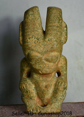 """7"""" Antique Old Chinese Hongshan Culture Green Jade Apollo Sun God Helios Statue"""