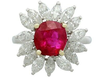 Vintage French 2.30ct Ruby & 1.65ct Diamond, Platinum Cluster Ring 1960s Size L