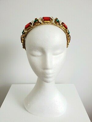 Miss Elissa womens beaded embellished headband fascinator in gold / red/ green