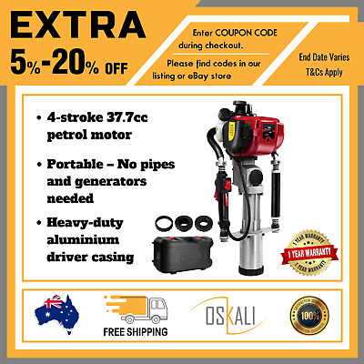 GIANTZ 4 Stroke Petrol Post Driver Power Pile Hole Drive Picket Rammer Fence