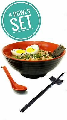 4 set (16 piece) Ramen Bowl Set, Asian Japanese Style with Spoons Chopsticks ...