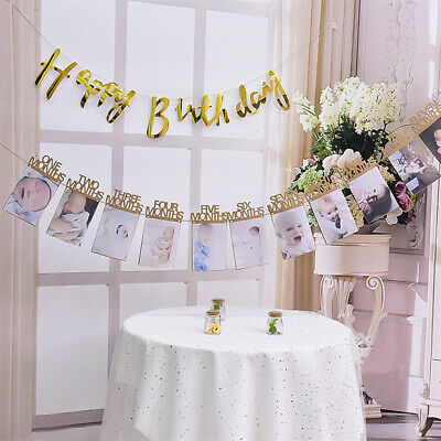 1st Baby Birthday Party First 12 Months Photo Bunting Recording Banner Decor