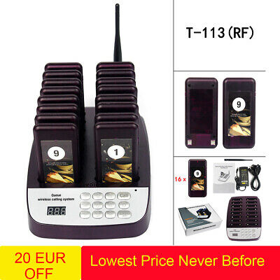 T113 Restaurant 999 channels Wireless Paging Queuing System+16*Coaster Pager UK