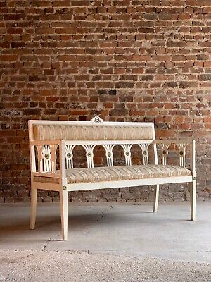 Fabulous Gustavian Salon Suite Sofa and Two Chairs Distressed Circa 1930s