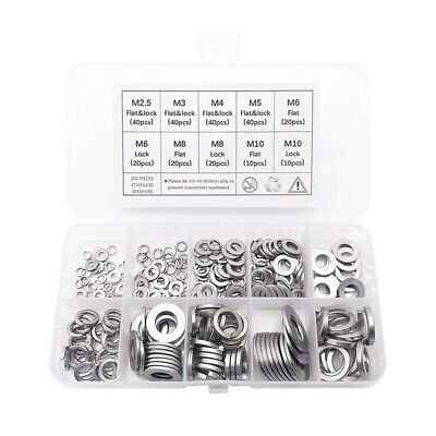 260-Pcs (7-Size) Steel Flat Washer and Lock Washer Assortment Set - Size In E1K6