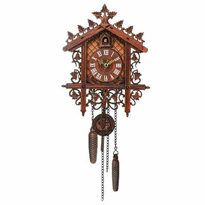 Vintage Wood Cuckoo Wall Clock Hanging Handcraft Clock For Home Restaurant G9B3