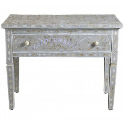 Handmade Antique Mother of Pearl Inlay Gray Solid Wood Console Table with Drawer