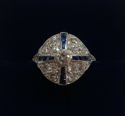 Antique Art Deco Diamond and Sapphire Cluster Ring 18ct Gold - Small Size J