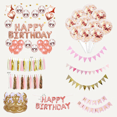 Happy Birthday Wedding Confetti Balloons Bunting Flags Banner Letter Party Decor