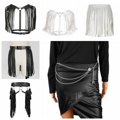 Women's Sexy Tassel Waist Belt Costume Party Skirt Body Chest Harness Clubwear