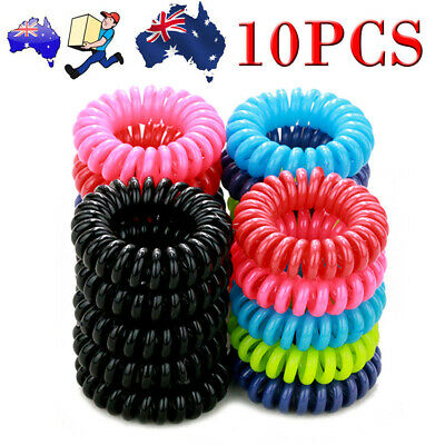 10X CLEAR Rubber Hair Tie Band Rope Elastic Spiral Bungee Plastic Ponytail Girl