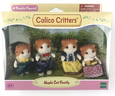 Calico Critters Maple Cat Family Movable Playhouse Figures Ages 3+