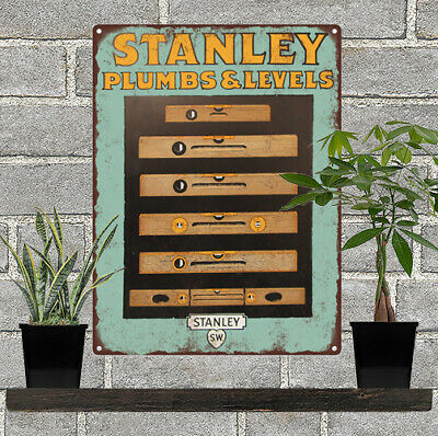 1920s Stanley Tools Plumbs Levels Advertising Baked Metal Repro Sign 9x12 60184