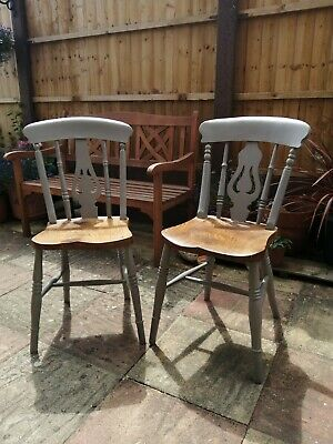 Pair Of Victorian Painted Kitchen Chairs.