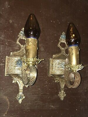 Antique Vintage Matching Set of Electric Wall Candle Sconces Art Deco