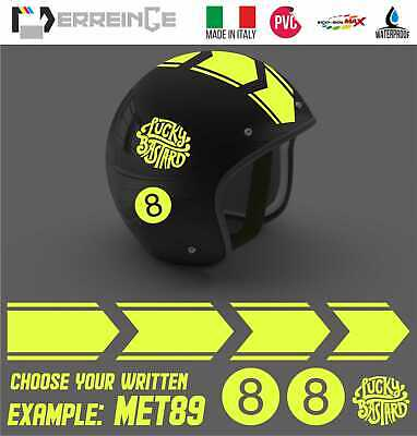 Kit Adesivi Casco Strisce Sticker Decal Scooter Moto Helmet Lucky Bastard Pvc