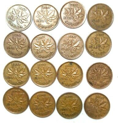 1937-1952  Canada Penny George VI  Run of 16 -  Key Dates 1944 and 1948 GR#1