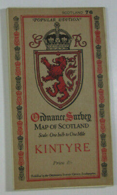 1926 Old OS Ordnance Survey One-Inch Popular Edition Scotland Map 76 Kintyre