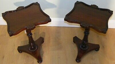 Good Quality Antique Pair Of 19Th Century Rosewood Wine Lamp Occasional Tables