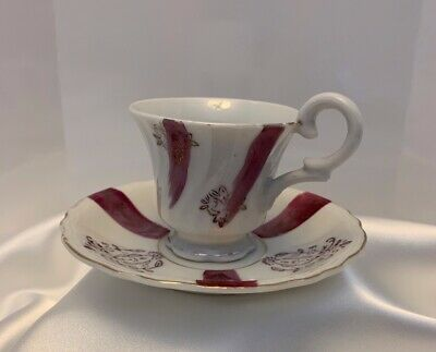 Teacup and saucer Minature White w/Purple Accents with Gold trim Made in Japan