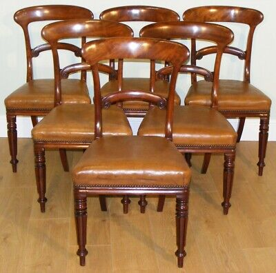 Good Quality Antique 19Th Century Mahogany Set Of Six Dining Chairs