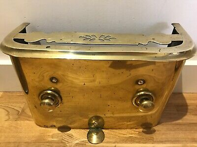 Georgian Antique Brass Tidy Betty Grate Cover Fire Guard Front Cast Iron Range