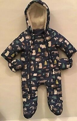Snowsuit Blue F&F Up To 3 Months Baby With Mittens
