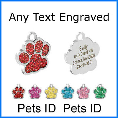 Personalised Christmas gift for dog Glitter Paw Print Address tag Dog Cat Pet ID