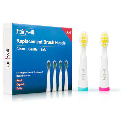 Electric Toothbrush Replacement Heads for Fairywill 507 508 917 959 Pearl White