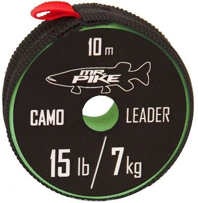 Quantum Mr. Pike Camo Coated Leader Material 10m Camo Steel Tippet, Pike Fishing