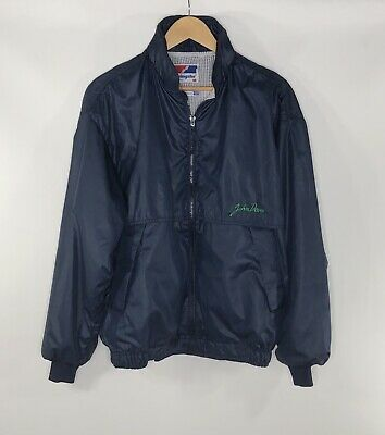 John Deere Swingster Men's Vintage 80's Blue Windbreaker Jacket Size Medium