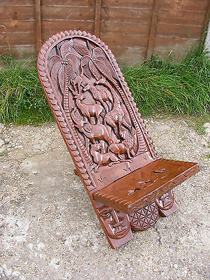 Vintage Antique Hand Carved Animals Wooden African Birthing Folding Chair Seat
