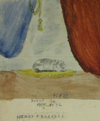 AMERICAN FOLK ART MINIATURE CAT PAINTING SIGNED Antique 19th Century