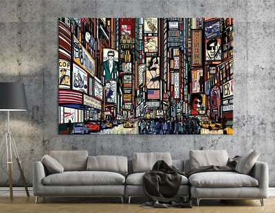 New York Illustration |Manhattan Print | Times Square Wall Art | Traffic Print