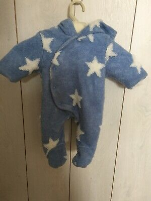 Next Baby Snowsuit Pramsuit Blue Baby Boy Star Fur Lined Up To 1 Month