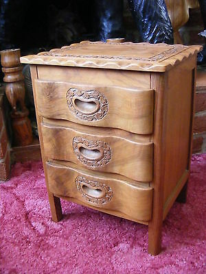 Antique Vintage Indian Style Hand Carved Small Cabinet Jewelry Box with Drawers