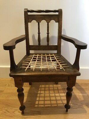 Antique Victorian Beech Wood Child's Carver  Chair Teddy Doll Leather Straps