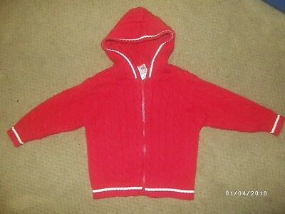 Vintage Gymboree Zip-front Hooded Cable Knit Cardigan, Size 3T, Red