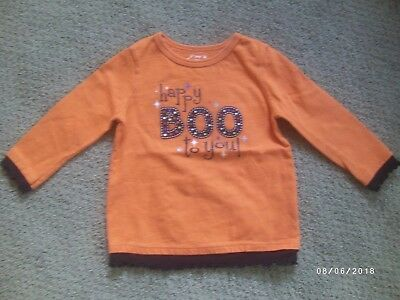 Girl's Halloween Shirt, Size 18 Months, Orange, Happy Boo To You