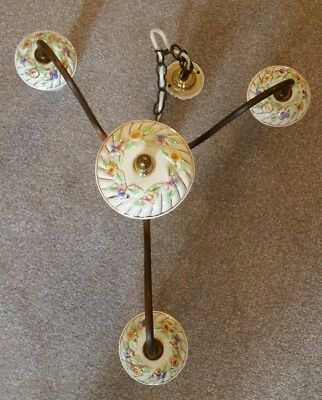 2 -Vintage Brass & Ceramic Chandelier Ceiling Lights Made in Italy (Capodimonte?