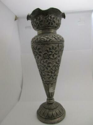 Sterling Silver Anglo Indian vase Antique Victorian c.1890.152g  19x7cm  k177