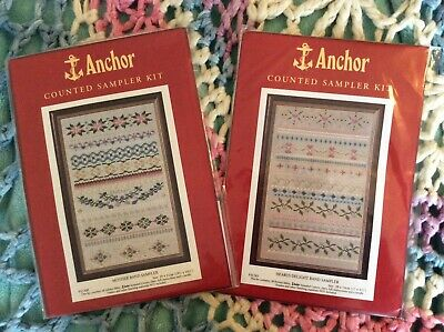 Anchor Sampler 2 Kits Hearts Mother Band Fabric Stranded Cotton Sewing Needle
