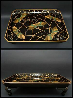 Antique Japanese Lacquer Makie Tray Low Table Butterfly Pattern